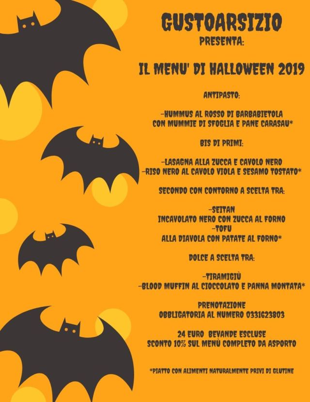 Orange Illustrated Bats Halloween Menu